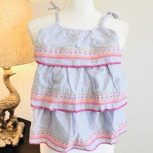 Limited too pinstripe 3 tiered toddler dress
